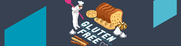 Image of chef in white chef hat looking at gluten free bread